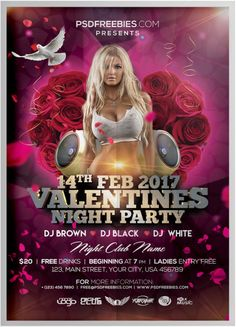 Valentines Day Party Flyer PSD Template Free Psd Flyer Templates, Valentines Day Party, Party Flyer, Flyers, Mockup, Lgbt, Business Cards, Templates, Lipsense Business Cards