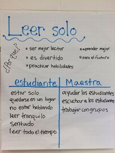 Our read to self anchor chart in Spanish! Let students come up with ideas for why it's important and what we do during read to self.