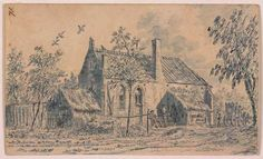 De kapel te Helsdingen bij Vianen (1756) Dirk van der Burg. Pen, penseel in blauwe waterverf op papier. Schenking 1946. Collectie centraal Museum Utrecht
