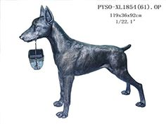 "Outdoor Indoor Garden Lawn Yard Patio Large Doberman Dog With Solar Light Statue Sculpture,Bronze Color 37""H"