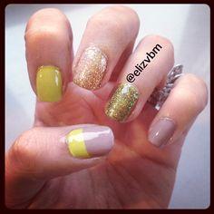 elizvbm's photo brown & green nails, glitter and gel nail design