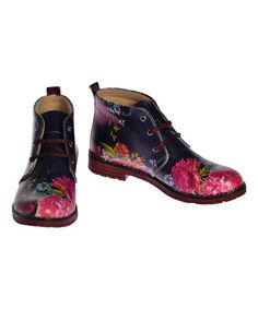 Another great find on #zulily! Black & Pink Floral Ankle Boots #zulilyfinds