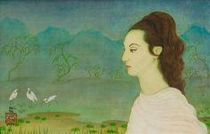 Artwork by Mai Thu, JEUNE EUROPÉENNE DANS UN JARDIN JAPONAIS (YOUNG EUROPEAN LADY IN A JAPANESE GARDEN), Made of Ink and gouache on silk