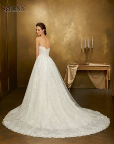 Style ANVXYOniellaCrystal beaded, frosted lace applqiués on tulle with hemlace over chantilly laceDetachable tulle train New York Wedding Dresses, Designer Wedding Dresses, Wedding Gowns, Bridal Gowns, Tulle, Bride, Wedding Details, Wedding Ideas, Madeline Gardner