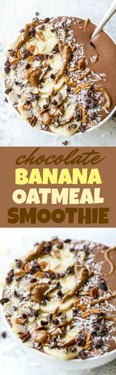 This creamy Chocolate Banana Oatmeal Smoothie Bowl has that stick-to-your-ribs feeling of a bowl of oats and will keep you satisfied for hours with plenty of fiber plant-based protein and healthy fat. The perfect vegan and gluten-free breakfast or snack! Easy Smoothies, Breakfast Smoothies, Smoothie Recipes, Vegetable Smoothies, Vegan Breakfast, Banana Oatmeal Smoothie, Smoothie Bowl, Vegan Snacks, Healthy Treats