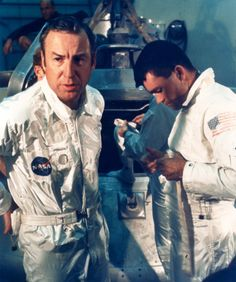 January 17, 1970 – Apollo 13 astronauts Jim Lovell (left) and Fred Haise during water egress training.