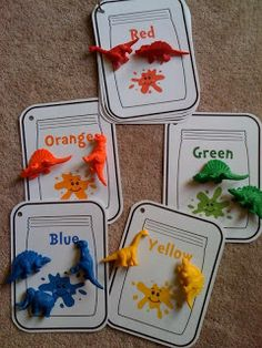 Idea- Just use $ store 'color flashcards' with toys, buttons, pompoms and other stuff we already have.  Or just use colored pieces of paper.