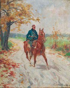 Czesław WASILEWSKI (ok. 1875-1946/47)  Żołnierz na koniu, 1927 olej, płótno naklejone na tekturę, 36 x 29,5 cm; sygn. i dat. p. d.: Cz. Wasilewski/ 1927