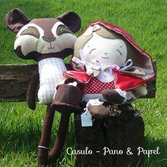 Boneca Chapeuzinho Vermelho e Boneco Lobo Mau #chapeuzinhovermelho #lobo mau