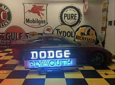 Dodge / Plymouth Neon Sign Antique Signs, Vintage Signs, Antique Cars, Vintage Diner, Vintage Trucks, Car Signs, Neon Signs, Custom Garages, Porcelain Signs