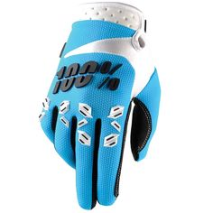 100% Percent Airmatic Blue Gloves