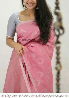 Cutwork Saree, Khadi Saree, Silk Saree Kanchipuram, Formal Saree, Simple Sarees, Silk Saree Blouse Designs, Saree Trends, Designer Blouse Patterns, Elegant Saree