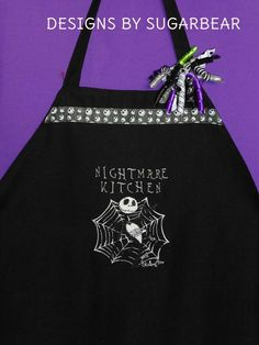 JACK SKELLINGTON Nightmare Before Christmas Embroidered Apron DeTaILed Spider Web LARGE CuSToM DeSiGN Designs by Sugarbear CUSToM Embroidery