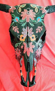 Beautiful, bespoke, uniquely decorated and ready to hang inside or out. A stunning Conversation piece! Deer Skull Art, Cow Skull Decor, Horse Skull, Deer Skulls, Animal Skulls, Longhorn Skulls, Painted Cow Skulls, Hand Painted, Modern Southwest Decor