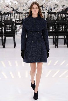 Christian Dior   Fall 2014 Couture   53 Navy mottled long sleeve coat-dress