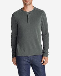 Men's Contour Long-Sleeve Henley Shirt: Blending TENCEL Lyocell with polyester creates a softer, cooler… #OutdoorClothing #Clothing #Apparel