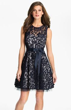 Betsy & Adam V-Back Lace Overlay Fit & Flare Dress | Nordstrom
