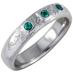Wedding band for him! Emerald is the 2013 Pantone Color of the Year, so look for things green to pop up!