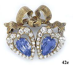 Sapphire, diamond and gold twin hearts brooch. Tiffany & Co