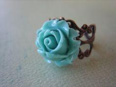 Petite Mint Rose Flower Ring  Adjustable Antique Brass by ZARDENIA, $9.00