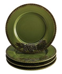 Look at this Paula Deen Green Southern Pine Salad Plate - Set of Four on #zulily today!