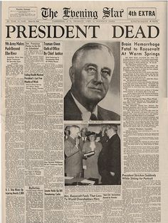"Front page of ""The Evening Star"". History Timeline, History Facts, World History, History Photos, American Presidents, Us Presidents, American History, Newspaper Headlines, Old Newspaper"