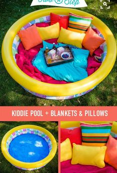 Snack time in a Comfortable Outdoor Lounge. Blow up a kiddie pool and fill it wi. Kids Outdoor Play, Backyard For Kids, Diy For Kids, Outdoor Lounge, Outdoor Play Areas, Backyard Playground, Backyard Games, Pool Backyard, Infant Activities