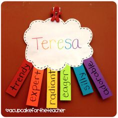 Great Acrostic to make the first week of school...I would do this with letters of their names instead of adjectives
