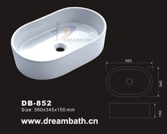 Product Name:Oval Sink Model No.: DB-852  Dimension: 560X345X150mm  (1 inch = 25.4 mm)  Volume: 0.037CBM  Gross Weight: 17KGS  (1 KG ≈ 2.2 LBS) Sink shape: Oval
