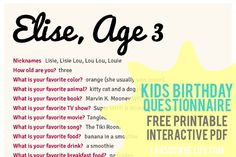 Kids birthday interview questionnaire: FREE printable forms!