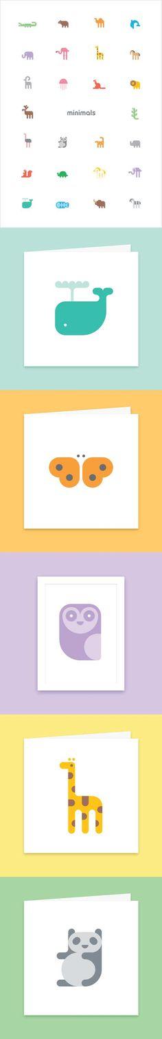 Minimals Paper Goods aka Adorable Animal Icon Designs by Daniel Bennett Web Design, Icon Design, Design Visual, Design Art, Logo Design, Affinity Designer, Kids Branding, Design Graphique, Flat Illustration