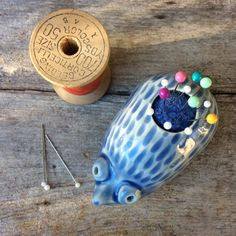 Ceramic Hedgehog Pincushion by EARTHnTWINE on Etsy