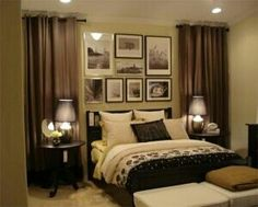 Curtains beside bed