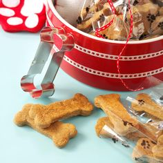 Ginger Dog Biscuits Recipe -Treat your or a friends dog to these holiday bones. These biscuits are soft and with a hint of spices.—Megan and Natalie Stanson, Frazeysburg, Ohio