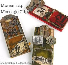 "Project: Message Clips Made From rat traps!  OMG I am so going to host a Not Craft Club ""Club"" with this project!  I'll glue heavy magnets to the back so they can also be used as refrigerator magnets...so cool!  Getting inspired of some themes!"