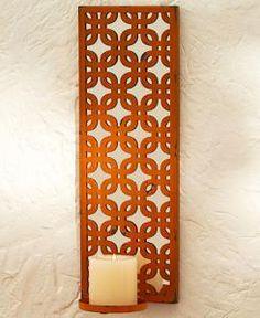 #880337027 Orange Lattice Candle Wall Sconce by sensationaltreasures