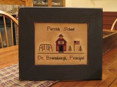"""School Days"" sampler.  Designed and stitched by Yesterday Once More Primitives."