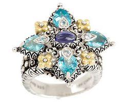 Barbara Bixby Sterling/18K 2.00 ct tw Apatite  Ring
