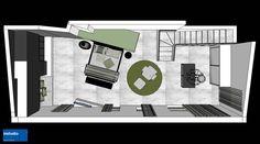 Una camera padronale dall'inaspettata disposizione degli arredi, dettata dalla doppia altezza del soffitto e dal volume in legno al quale è stato accostato il letto.