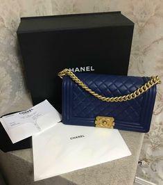 Chanel Boy Chain Shoulder Bag Navy Blue Gold Rare Color Never Used Burberry Handbags, Chanel Handbags, Burberry Bags, 2017 Handbags, Chanel Boy Bag Medium, Black Chanel Purse, Chanel Wallet, Chain Shoulder Bag, Black Cross Body Bag