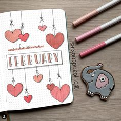 Best February Bullet Journal Valentines Ideas - The Smart Wander Looking for february bullet journal ideas? Here are the best bullet journal valentine's day ideas for cover page, habit trackers, weekly spreads and more. Planner Bullet Journal, Bullet Journal Cover Ideas, February Bullet Journal, Bullet Journal Monthly Spread, Bullet Journal School, Bullet Journal Layout, Journal Covers, Bullet Journal Inspiration, Bullet Journal Month Page