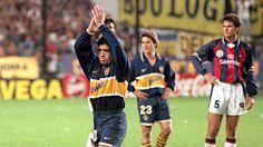 uno de sus últimos partidos, contra San Lorenzo en 1997.