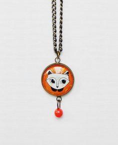 #neckless #colar #cabochao #illustration #fox #raposa #orange #animal #laranja #style #fashion