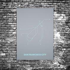 San Francisco C5 - Acrylic Glass Art Subway Maps (Acrylglas, Underground)