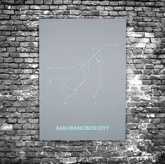 San Francisco C5 - Acrylic Glass Art Subway Maps (Acrylglas, Underground)
