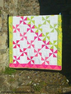 Handmade Modern Patchwork Quilt Pink and by PoppykinsPatchwork