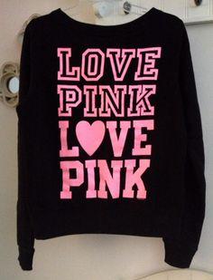 Victorias Secret Pink Black Crew Neck sweat Shirt