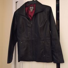 Ladies leather jacket Black leather lined leather jacket. Full zipper front. Rarely worn. Excellent condition. Two front concealed pockets. Got it on sale when a store was closing in CA on a visit and live in Florida so have just not had occasions to wear it. Jackets & Coats