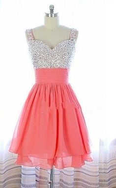 Pretty Watermelon Short Beadings Prom Dress