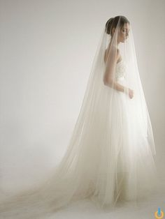 Cathedral soft tulle wedding veil with knee by HoneyPieBridal church wedding Cathedral italian soft tulle wedding veil with knee blusher in peach color, blusher wedding veil, unique wedding veil, Peach - Style Simple Veil, Simple Wedding Veil, Bridal Gowns, Wedding Gowns, Drop Veil, Cathedral Wedding Veils, Tulle Wedding, Arch Wedding, Wedding Flowers